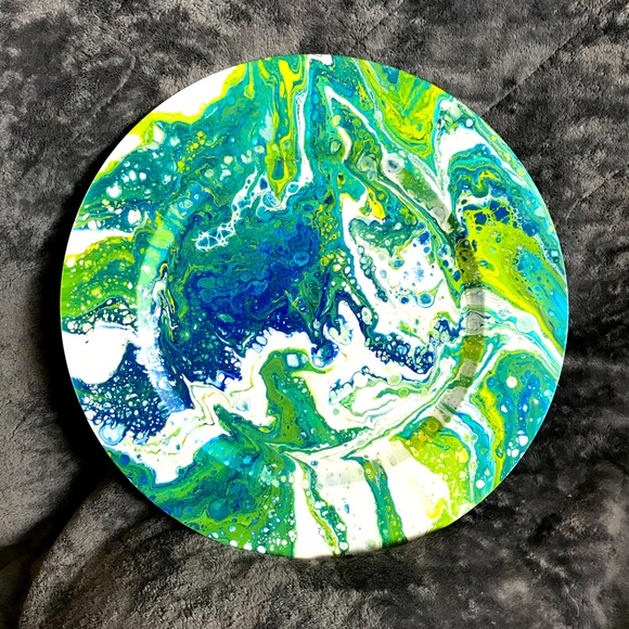 Decorative Green and Blue Poured Paint Art Plate